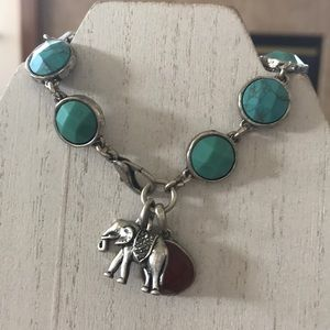 Lucky Brand Faux Turquoise and Elephant Bracelet